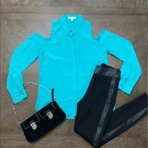 Turquoise cold shoulder button down shirt